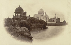 Distant view of 'Taj' from the river Jumna, Agra.